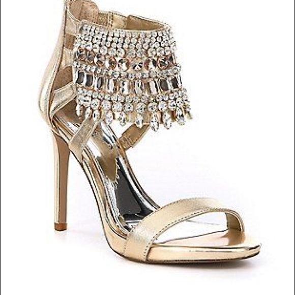 6b79241152c Gianni Bini Avevaa Jeweled Satin Dress Sandals 9 NWT